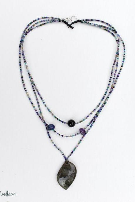 Mercury Retrograde Protection Necklace | Black Tourmaline | Lapis Lazuli | Amethyst | Labradorite | Witchy Crystal Talisman | Peacock Colors