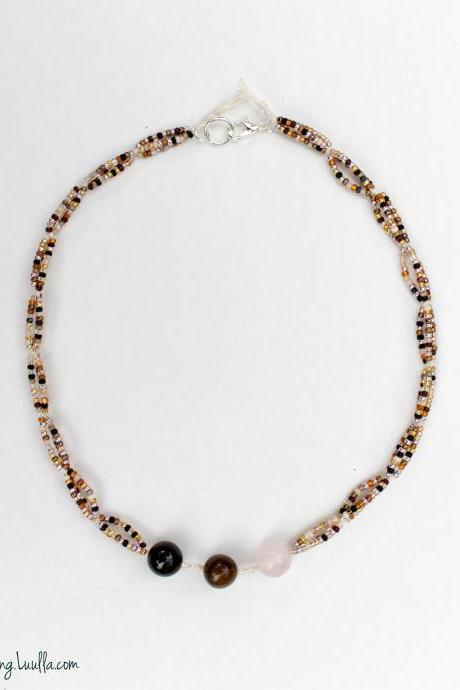 Love Luck Protection Choker | Empath Shield | Rose Quartz | Tigers Eye | Black Tourmaline | Magic Protection | Seed Beaded Necklace | Thoughtful Gift