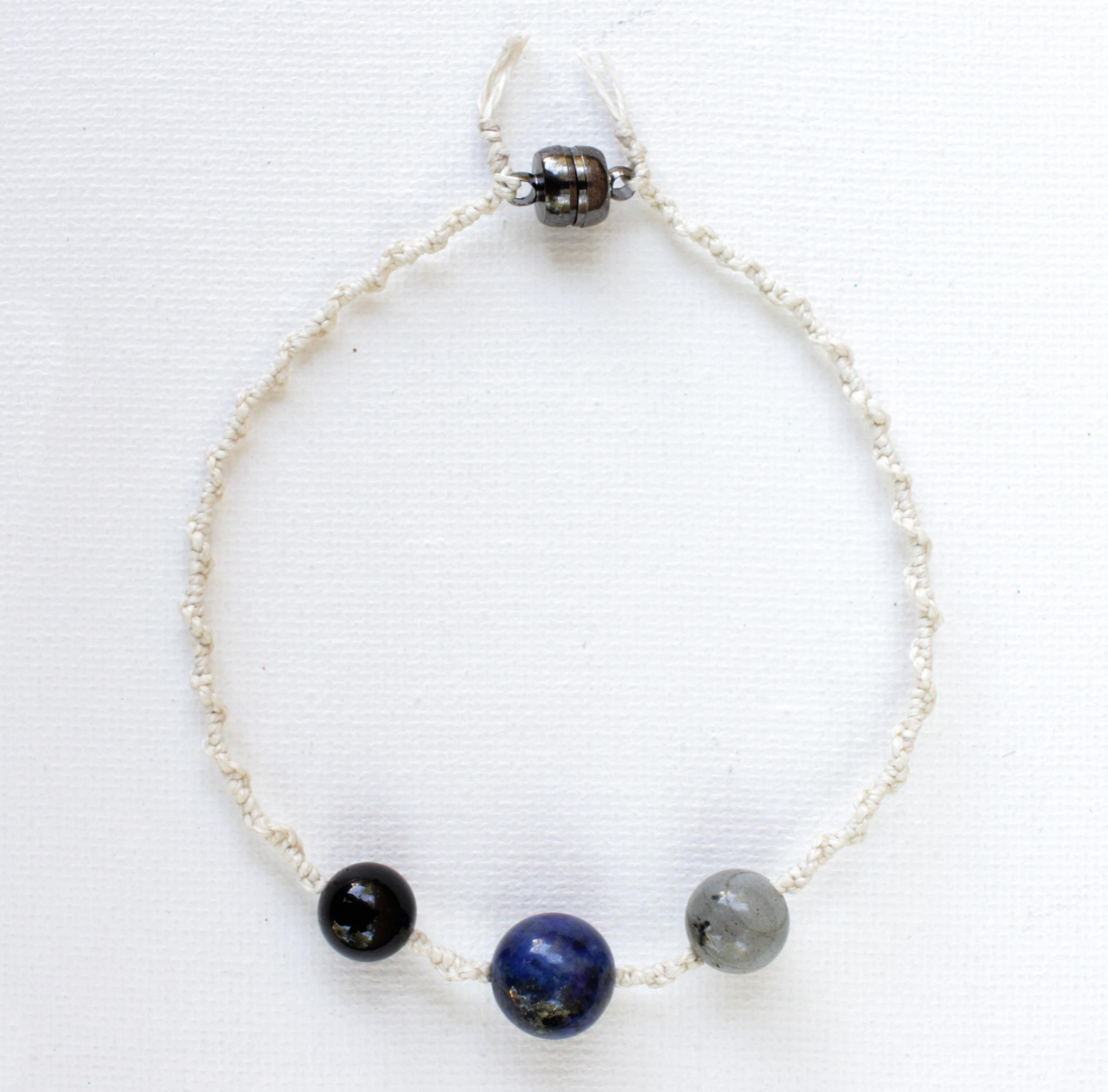 Mercury Retrograde Protection Crystals Hemp Macramé Bracelet Anklet | Lapis lazuli | Labradorite | Black Tourmaline | Made to Order Gift