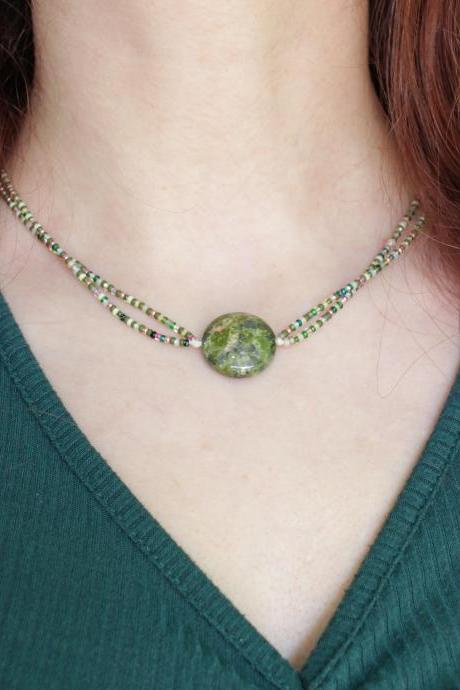 Unakite | Beaded Coin Choker