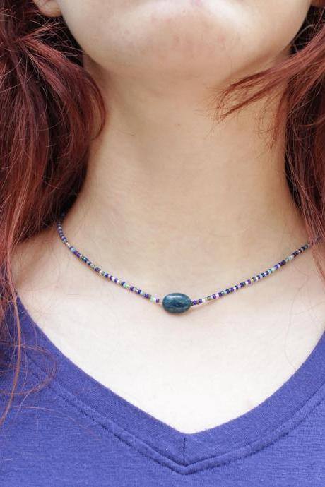 Blue Apatite Pebble Minimalist Necklace